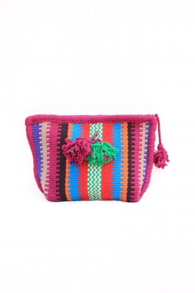 handwoven toiletry bag with tassels
