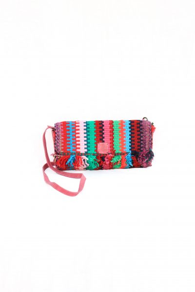 handwoven clutch with tassels