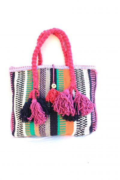 handwoven tote bag with tassels