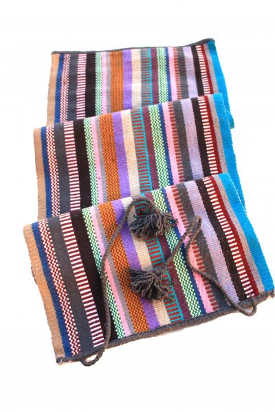 handwoven yoga rug with tassels