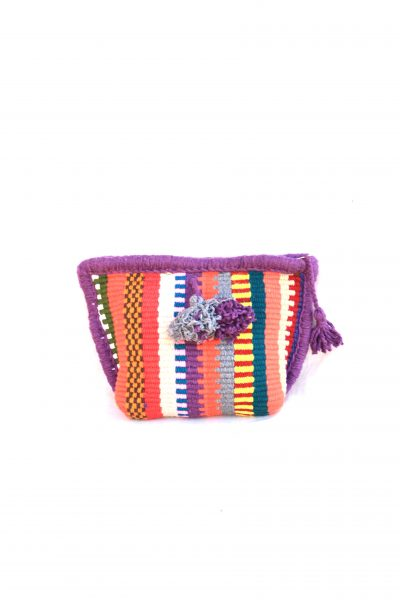 handwoven toiletry bag with zip and tassels