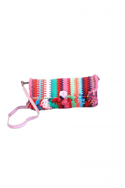 handcrafted clutch with tassels and leather strap