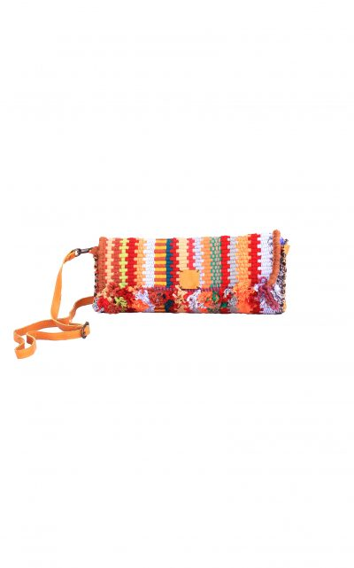 handwoven clutch with leather strap Bedouin LUMEYO